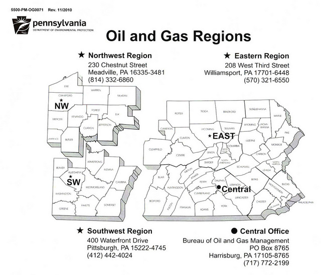 There are three Regional Pennsylvania Department of Environmental Protection Oil and Gas Offices. Each office has unique operating procedures and only holds complaint files relavent to that Oil and Gas region. If you wish to view and obtain public records not held within your closest regional office, the DEP asserts that it is your responsibility to visit that office to gain access to those records.